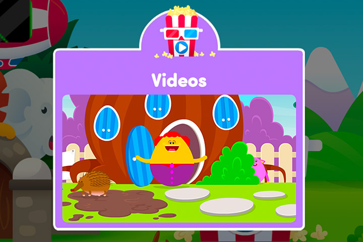 Screenshot of the video section of Reading Eggs Junior